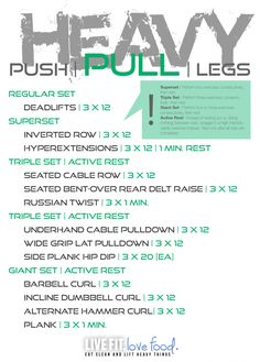 Push/Pull/Legs Weight Training Workout Schedule For 7 Days, , health fitness nutrition, Push Pull Workout Routine, Push Pull Legs Workout, Push Workout, Workout Splits, Gym Workout Tips, Weight Loss Workout Plan, Strength Training Workouts, Workout Schedule, Weekly Workouts