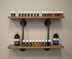 Product Shelf: Why not resource your patients to a healthy lifestyle? Made of weathered oak and metal pipe. Designed by @bobbyfano #youngliving #innatechoice #diy #affordablebuilding #gonsteadchiro #industrial
