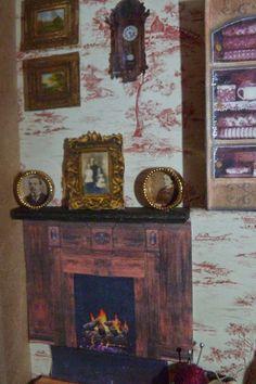 Escena de Sala de Estar en miniatura. Detalle de chimenea.