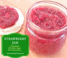 Chia Dukan (Consolidation phase) 2 Ingredient STRAWBERRY JAM NO ADDED SUGAR NO PRESERVATIVES  -1 c. strawberries, previously frozen and thawed with juices -1/4 c. chia seeds  1. Place all ingredients in a blender (or magic bullet) and pulse for 10 seconds. 2. Refrigerate overnight.  Will probably add Stevia to this.
