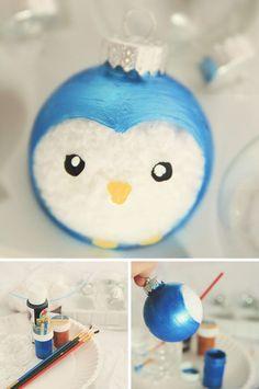 Cute Painted Penguin Ornament.                                                                                                                                                                                 More