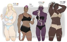 4 Buff Babes of the Apocalypse [pt by Beedalee-Art on DeviantArt Female Character Design, Character Design References, Character Drawing, Character Design Inspiration, Character Concept, Body Reference, Drawing Reference Poses, Anatomy Reference, Art Reference