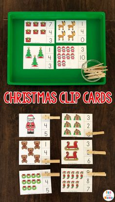 Clothespin Christmas Clip Cards - Fun with Mama #clothespin #christmas #printablecards #math #counting #numbers