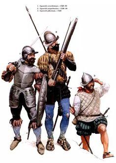 1. Espadachin Español 1520-1530. 2. Arcabucero Español 1520-1540. 3. Piquero Español 1540.