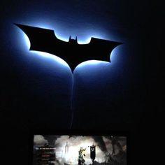 DIY Batman Wall Lamp cut ply wood painted black mounted to wall with battery operate ikea light behind it Batman Bedroom, Batman Metal, Im Batman, Batman Lamp, Batman Light, Black Batman, Ideias Diy, Night Lamps, City Art