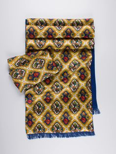 Tootal Baroque Print 100% Silk Scarf and Hankie - Double up with this wonderfully patterned baroque silk scarf and hankie pairing. Tootal have surpassed themselves with this super quality, gold Florentine print combo.