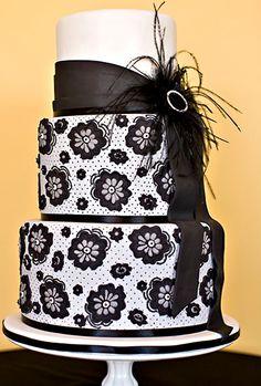#KatieSheaDesign ♡❤ ❥ ▶ So Gatsby!! black and white lace wedding cake