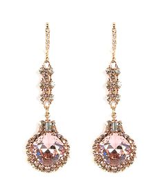 Haute Bride-Rose Gold Blush Drop Earrings. From the latest Rose Gold collection by Haute Bride. This delicate chandelier is designed with golden shadow and vintage rose (blush) Swarovski crystals. A gorgeous addition for your special event! #bellableubridal #hautebride