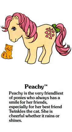 My Little Pony Fact File: Peachy with Twinkles the cat