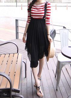 Asymmetric Chiffon Suspender Skirt by Miamasvin #Miamasvin #KoreanFashion #AsianFashion