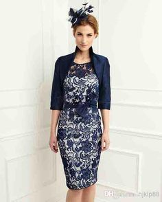 New Navy Blue Satin Lace Knee Length Sheath Scoop Mother of the Bride Dresses With 3/4 Sleeves Jacket Mother Dress Plus Size, $76.97