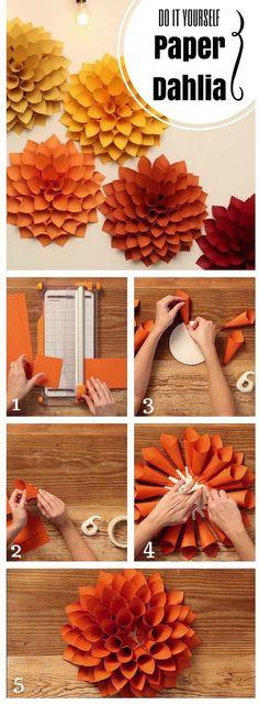 Dahlie aus Papier diy paper DIY Paper Dahlia – The Oversized Paper Version of the Beloved Spring Flower - Inspired Bride Kids Crafts, Diy And Crafts, Craft Projects, Diy Paper Crafts, Kids Diy, Handmade Crafts, Diy Crafts Room, Diy For Room, Diy Gifts Paper