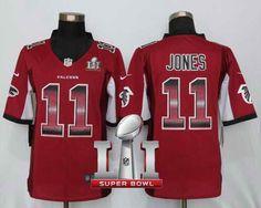 Men's Falcons #11 Julio Jones Red Team Color Super Bowl LI 51 Stitched NFL Limited Strobe Jersey