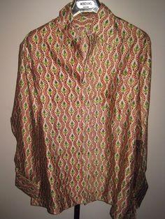 VINTAGE 70s size L/XL shirt HUGE DISCO COLLAR mod unisex CRAZY PATTERN femme #Unbranded #Casual