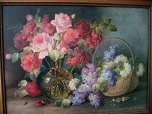 Roses Lilacs Print Stoitzner Large Size, www.rubylane.com/shop/victorianroseprints