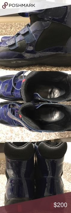 Men's Prada Hi-Top Sneakers Blu/Blk/Blk Size 13 Prada Hi-Top Sneakers Men's 13   Blu/Blk/Blk  Only have been worn a few times.   Still look relatively new except small scuff shown in picture  w/box  Wiped down before shipping  Shipping (2-3 days) Prada Shoes Sneakers