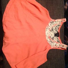 Rue21 Lacey coral flowy tank Rue21 Lacey coral flowy tank. Lace detail back Rue 21 Tops Crop Tops