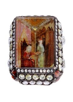Sevan Bicacki, 'Sultan's Audience' ring. Gold, silver, diamonds, aquamarine with carved intaglio portraying Ottoman Sultan's audience to his guest. Photo © Kemal Olca
