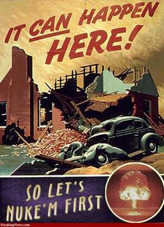 This propoganda poster promotes the use of nuclear weapons. The idea is that communism will never end. This poster shows that nuclear war is the only way to stop the rise of communism. Cold War Propaganda, Ww2 Propaganda Posters, Communist Propaganda, Vintage Advertisements, Vintage Ads, Vintage Posters, Retro Poster, Poster S, Poster Ideas