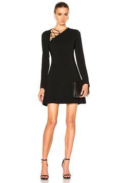 Image 1 of Cushnie et Ochs Winona Long Sleeve Fit & Flare Dress in Black