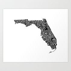 Typographic Florida Art Print by CAPow! - $16.00