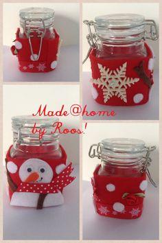 Kerstknutselen: Glazenpotjes beplakken met vilt. Leuk!