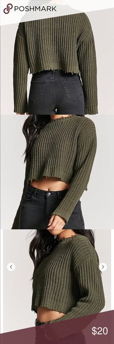 Olive Distressed Chenille Sweater NWOT. Not my style at all and too cropped for me. A chenille ribbed-knit top featuring a round neck, dropped shoulders, long sleeves, a cropped silhouette, and distressed trim. 10/10 condition. Forever 21 Sweaters