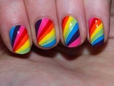 Rainbow, bright, multi-color, striping, spoking, free hand nail art