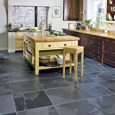 Slate Kitchen Backsplash Design - Cool Black Slate Kitchen Floor Tiles Ideas Kitchen Tile Ideas E. Black Slate Floor, Slate Floor Kitchen, Kitchen Flooring Options, Slate Flooring, Kitchen Tiles, Kitchen Countertops, Kitchen Decor, Kitchen Floors, Flooring Ideas