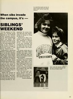 """Athena yearbook, 1990. """"When sibs invade the campus, it's - Siblings' Weekend."""" :: Ohio University Archives"""