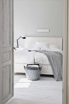 white rustic bedroom with touches of grey