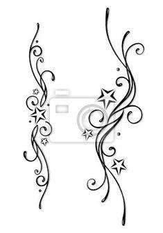 Cuadro /Póster Tatuajes Tribales Estrellas Conjunto De