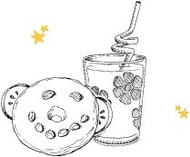 Make breakfast fun! Cut the centers from a slice of toast with a cookie cutter, serve milk or juice with twisty straws or put a smiley face on a bagel using raisins and cream cheese. Artwork by Gooseberry Patch.