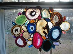 Large Agate Stained Glass Free Formed Panel by TerraeLuce on Etsy, $400.00