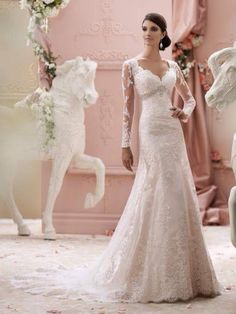Vestido de casamento com manga comprida ...