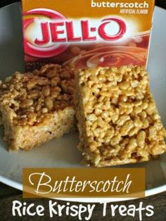 These Butterscotch Rice Krispie treats are a delightful twist on the traditional rice krispy treat. Please a crowd with these butterscotch rice krispies! Candy Recipes, Sweet Recipes, Cookie Recipes, Rice Recipes, Fudge Recipes, Cereal Recipes, Holiday Recipes, Recipies, Instant Pudding