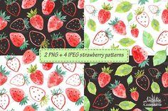 Strawberry watercolor design  by Natali_art on @creativemarket