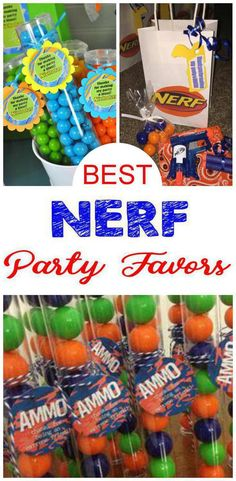 Nerf birthday party bags, goodie bag & more ideas. Get the best Nerf birthday party ideas. Best ideas for boys and girls for a bday or classroom party. Candy, gum, bullets, toys & more kids and children of all ages will love. DIY or buy 7th Birthday Party For Boys, 50th Birthday Party Favors, Kid Party Favors, Party Bags, Party Candy, Cake Birthday, Happy Birthday, Carnival Birthday, Wedding Favors