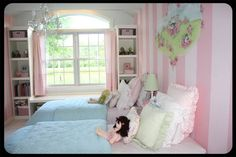 pink striped walls | The Old Painted Cottage