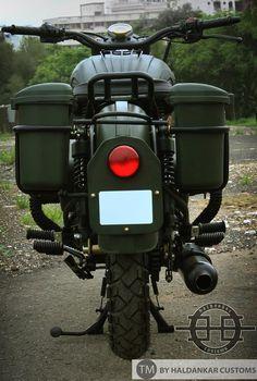 Modified Royal Enfield Bullet in Military Green Paint Haldarkar Customs