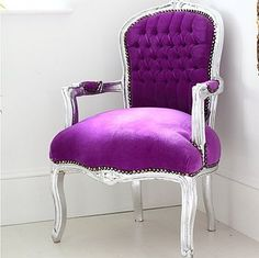 Penelope Purple And Silver Louis Armchair by Out There Interiors
