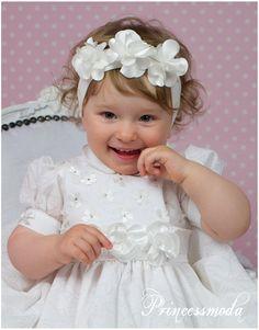 (EM26) Schickes Stirnband in Champagner! - Princessmoda - Alles für Taufe Kommunion und festliche Anlässe