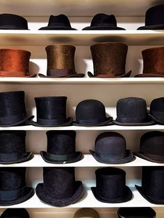 Fedoras, stovepipes, top hats, and bowlers.