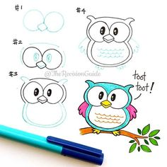 Drawing Doodles Sketches Owl how to draw step by step Doodle Art, Doodle Drawings, Animal Drawings, Easy Drawings, Owl Doodle, Drawing Animals, How To Doodle, How To Draw Owl, Draw An Owl