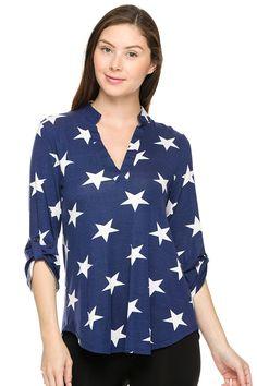Split neck stars print top.