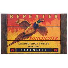 Rustic Winchester Repeater Pheasant Wood Plaque
