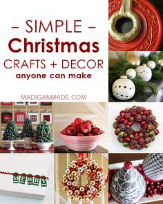 Over 25 simple DIY Christmas crafts and decor ideas. Wreaths, centerpieces, crafts, decor, gift packaging... so many elegant ideas in one spot