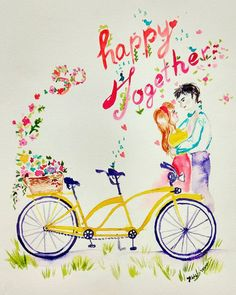 Check out this item in my Etsy shop https://www.etsy.com/listing/490158130/so-happy-together-tandem-bike-original