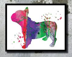 French Bulldog Puppy Watercolor Print Archival Dog by BogiArtPrint