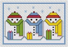 Snowman Snuggle Card cross stitch kit